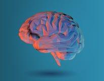 Niedrige Poly-Illustration des Gehirns 3D auf blauem Hintergrund stockbilder
