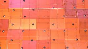 Niedrige Poly-Oberfläche 3D mit Fliegengitter oder -masche und schwarze Bereiche als Element winken Grafik zu Weiches geometrisch stock abbildung
