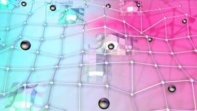 Niedrige Poly-Oberfläche 3D mit Fliegengitter oder -masche und schwarze Bereiche als futuristische Entlastung Weicher geometrisch lizenzfreie abbildung