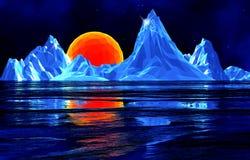 Niedrige Polyeisberge mit Sonne Stockbilder