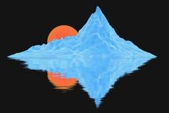 Niedrige Polyeisberge mit Sonne Stockfoto