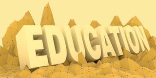 Niedrige Polygebirgslandschaft Bildungstext Stockfoto
