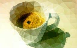 Niedrige PolygonKaffeetasse lizenzfreie stockbilder