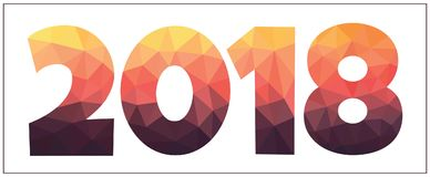 Niedrige Polyillustration des neuen Jahres, geometrische Zahlen entwerfen Stockfoto