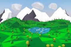 Niedrige Polylandschaft mit Bergen, See, Bäumen und Schwänen Lizenzfreies Stockfoto