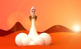 Niedrige Polyrakete beginnt Flug von futuristischer kosmischer Illustration 3D Mars stockbild