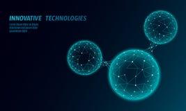 Niedrige Polywassermolekülstruktur 3D übertragen Konzept Ökologische Technologiekunst der polygonalen Wissenschaftsforschung futu stock abbildung