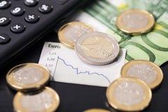Niedrige Rate des Euros stockbild