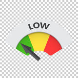 Niedrige Risikomessgerät-Vektorikone Niedrige Brennstoffillustration auf isola Lizenzfreie Stockbilder