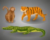 Niedrige tierische tropische Polyzusammenstellung Vektorillustration eingestellt in polygonale Art Stockfoto