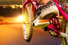 Niedriger Abschnitt des Kinderlebensmittelradfahrers Lizenzfreie Stockbilder