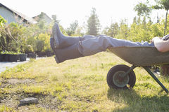 Niedriger Abschnitt des Mannes entspannend in der Schubkarre am Garten Stockfoto