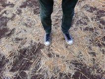 Niedriger Abschnitt eines Mannes, der auf Stroh steht Stockfoto