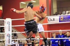 Niedriger kickboxing Wettbewerb lizenzfreie stockfotografie