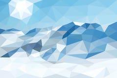 Niedriger Poly-, polygonaler Landschaftswinterhintergrund Vektor Stockfoto