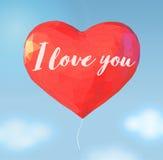 Niedriger Polyballon in der Herzform für Valentinsgrußgruß Lizenzfreie Stockfotografie