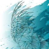 Niedriger Polypapagei auf blauem Aquarell Stockfotos