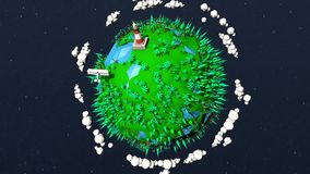 Niedriger Polypixelplanet mit Bäumen, Ozeanen, Palmen, Fläche und Leuchtturm vektor abbildung