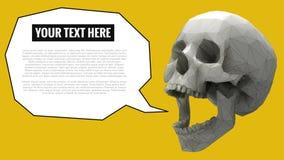 Niedriger Polyschädel mit Ballon für Text auf gelbem BG Lizenzfreie Stockfotografie