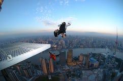 NIEDRIGER Sprung Shanghai am Sonnenaufgang Lizenzfreie Stockfotografie