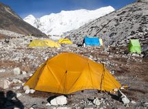 Niedriges Lager der Insel-Spitze (Imja Tse) nahe Mount Everest Lizenzfreies Stockfoto