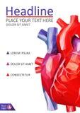 Niedriges menschliches Herzabdeckungspolydesign A4 medizinische Zeitschriften, conferenes Stockfotografie