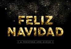 Niedriges Polynavidad Spanisch des Weihnachtsneuen Jahres gold Lizenzfreie Stockfotos