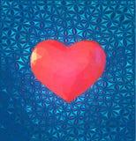 Niedriges rosa Herzpolysymbol mit stilisieren BG Lizenzfreies Stockfoto