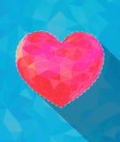 Niedriges rosa Polyherz auf blauem Türkis BG Lizenzfreie Stockfotos
