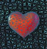 Niedriges rotes Herzpolysymbol mit stilisieren BG Stockbilder