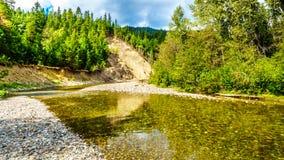 Niedrigwasser planiert im Coldwater-Fluss Salmon Habitat von Brookmere herein BC, Kanada stockfotos