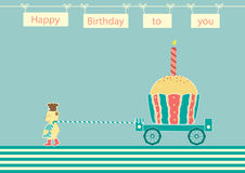 Niedźwiadkowy szef kuchni z babeczka urodziny, projekt dla urodzinowych kart Zdjęcie Stock