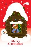 Niedźwiedź w domu samotnie Bożenarodzeniowa kartka z pozdrowieniami czerwień Zdjęcie Stock