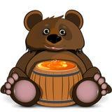 Niedźwiedź z baryłką honey Zdjęcia Royalty Free