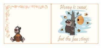 Niedźwiedzia i pszczoły pocztówki kreskówka Zdjęcie Stock