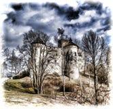 Niedzica城堡在波兰南部 免版税图库摄影