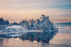 Niedzica Castle during a frosty evening, Poland Royalty Free Stock Photography