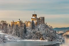 Niedzica Castle during a frosty evening, Poland Stock Photography