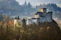Niedzica Castle. In Pieniny autumn mountains, Poland royalty free stock photos