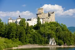 Niedzica Castle, Poland. Outdoor, outdoors, outside, exterior, exteriors, europe, eastern, central, pienny, carpathian, mountains, architecture, old, historic stock photography