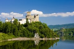Niedzica Castle, Poland. Outdoor, outdoors, outside, exterior, exteriors, europe, eastern, central, pienny, carpathian, mountains, architecture, old, historic stock images