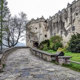 Niedzica Castle in Poland, spring sesason. Niedzica Castle in Poland.  It was erected between the years 1320 and 1326 by Kokos of Brezovica on the site of an royalty free stock photos