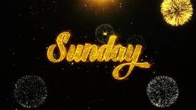 Niedziela Życzy powitanie kartę, zaproszenie, świętowanie fajerwerk Zapętlający