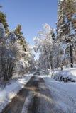 Śnieg i lód na drodze w Szkocja Fotografia Royalty Free