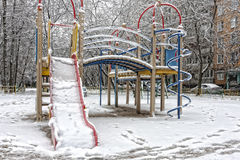 Śnieg i mróz w boisku Obrazy Royalty Free