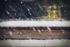 Śnieg przy Drewnianym Okno Fotografia Stock