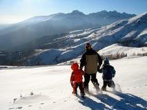 śnieg rodziny Fotografia Royalty Free