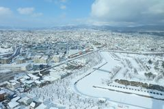 Śnieg w miasteczku Zdjęcie Royalty Free