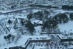 Śnieg w miasteczku fotografia royalty free