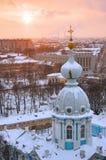Śnieg w St Petersburg przy zmierzchem Fotografia Royalty Free